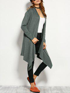 Drape Front Asymmetric Cardigan - Blackish Green S