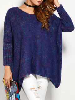 Asymmetric Batwing Sleeve Sweater - Purplish Blue