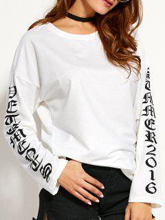 Ronda De Cuello Camiseta Gráfica - Blanco S