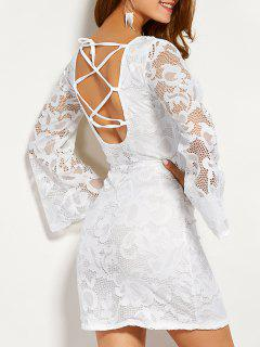 Long Sleeve Back Lace Up Lace Dress - White L