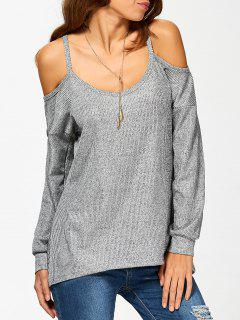 Cold Shoulder Long Sleeves T-Shirt For Women - Gray S