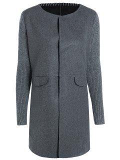 Knitted Sleeve Spliced Round Neck Coat - Deep Gray Xl