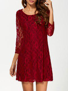 Short Lace Dress With Sleeves - Wine Red M