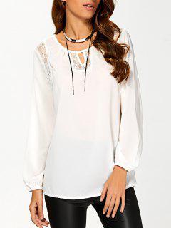 T-Shirt Avec Patchwork De Dentelle Ciselée - Blanc S