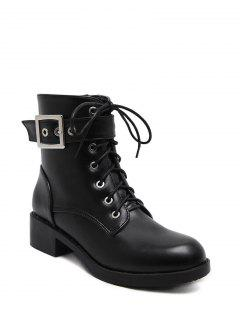 Chunky Heel Buckle Strap Combat Boots - Black 37