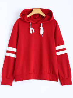 Stripes Pullover Hooded Sweatshirt - Wine Red L