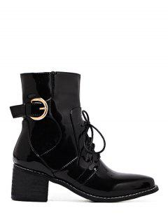 Buckle Patent Leather Combat Boots - Black 38