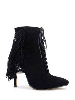 Pointed Toe Fringe Stiletto Heel Boots - Black 38