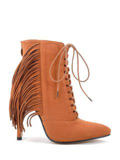 Pointed Toe Fringe Stiletto Heel Boots - Brown 38