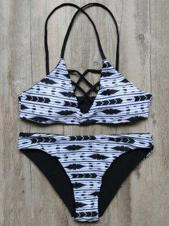 Criss Cross Striped Bikini - White And Black S