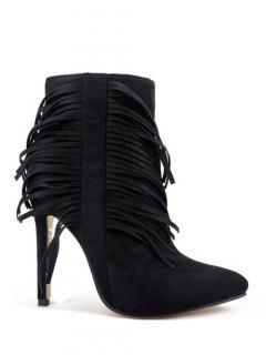 Fringe Pointed Toe Ankle Boots - Black 38