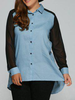 Chiffon Sleeve Denim Plus Size Shirt - Denim Blue 5xl
