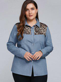 Leopard Patchwork Denim Plus Size Shirt - Denim Blue 5xl
