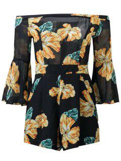 Floral Print Off  Shoulder Romper - Black S