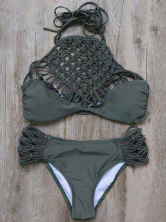 Braided High Neck Mesh Bikini - Greyish Green L