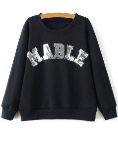 Sequins Letter Sweatshirt - Cadetblue L