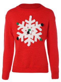 Snowflakes Christmas Sweater - Red S