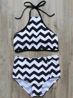 Zig Zag High Waisted Bikini - White And Black M