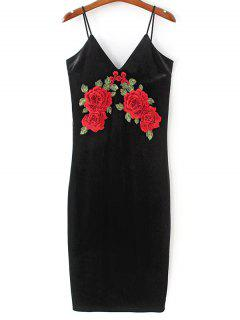 Embroidered Velvet Cami Vintage Dresses - Black L