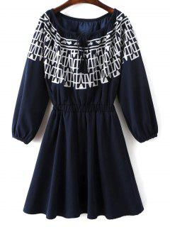 Contrasting Embroidery Long Sleeve Dress - Midnight L