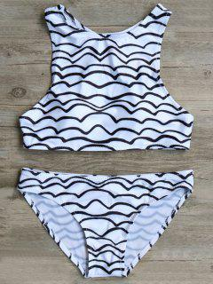 Wavy Line High Neck Bikini - White And Black S