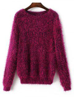 Fluffy Relaxed Fit Sweater - Purplish Red