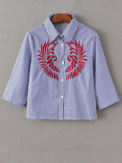 Striped Embroidered Cropped Shirt - Blue And White M