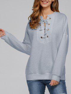 Ribbed Lace Up Sweatshirt - Smoky Gray Xl