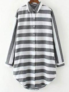 Long Linen Striped Shirt - White And Black S