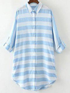 Long Linen Striped Shirt - Blue And White L
