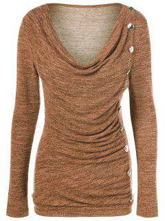 Plus Size Ruched Button Embellished Pullover Top - Ochre Yellow 3xl