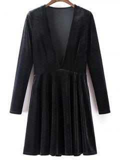 Velvet A-Line Dress - Black S
