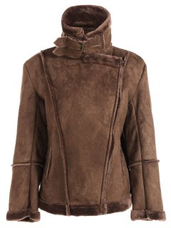 Faux Shearling Jacket - Coffee 2xl