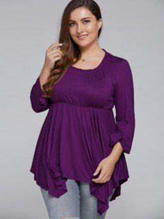 Asymmetrical Plus Size Empire Waist Blouse - Purple Xl