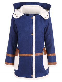 Faux Suede Hooded Coat - Blue 2xl