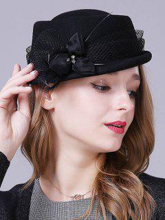 Flower Feather Lace Pillbox Hat - Black