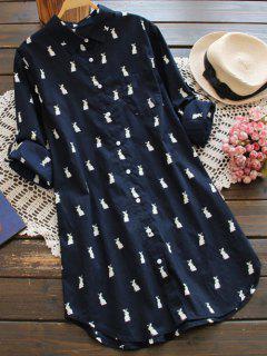 Vestido Camisa Larga Estampado Animal Conejo  - Marina De Guerra S