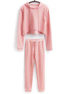 Cropped Hoodie And Drawstring Sports Pants - Pink M
