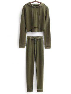 Cropped Hoodie And Drawstring Sports Pants - Army Green S