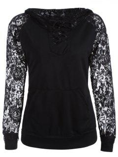 Lace Spliced Lace Up Hoodie - Black S