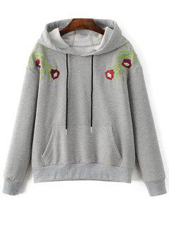 Thickening String Embroidered Hoodie - Gray S