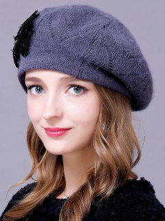 Bowknot Knitted Slouchy Hat - Stone Blue