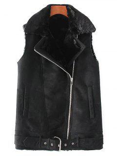 Zip-Up Fuax Suede Waistcoat - Black S