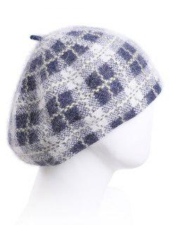Plaid Pattern Knitted Slouchy Hat - Light Gray