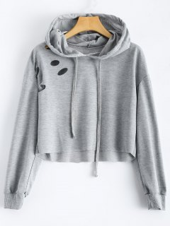 Cut Out Polka Dot Cropped Hoodie - Light Grey S