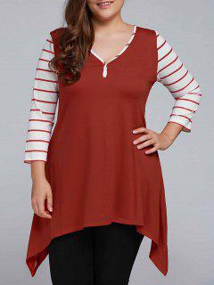 Striped Sleeve Asymmetrical Plus Size Tee - Claret 2xl