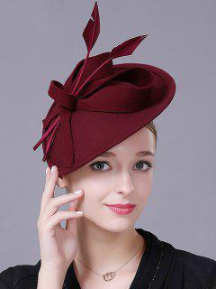 Floral Feather Cocktail Hat - Wine Red