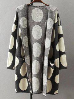 Polka Dot Hooded Cashmere Cardigan - Black