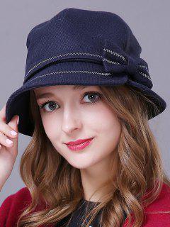 Bowknot Knit Cloche Hat - Deep Blue