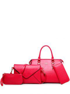 Zippers PU Leather Metallic Tote Bag - Rose Red